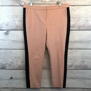 Boden Pink Tuxedo Stripe Crop Pant Stretch 12